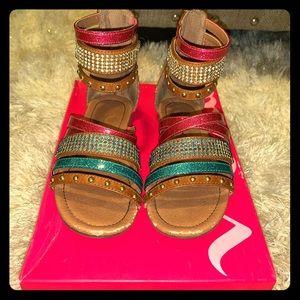 Nina Graziella Back-Zip Sandal Girls Size 13